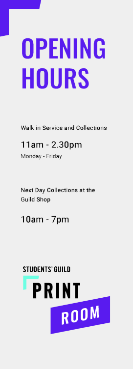 Opening Times - 11:00 - 14:30 walk in service, 10:00-19:00 Next day collection Guild Shop.
